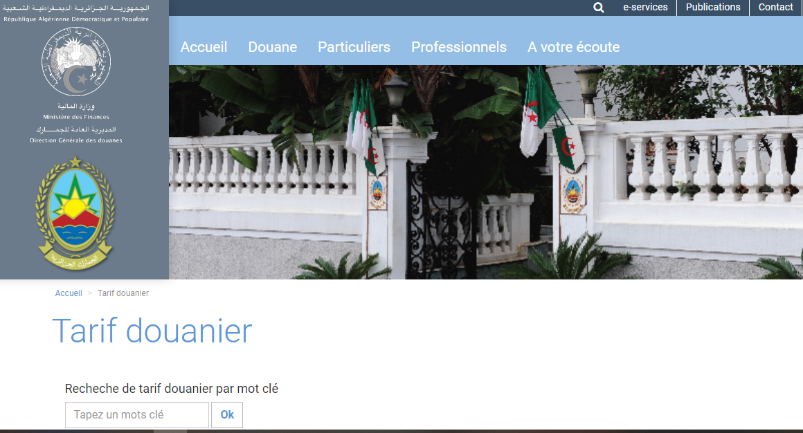 Ảnh chụp màn hình website https://douane.gov.dz/
