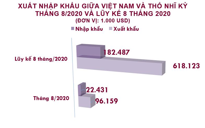 Xuất nhập khẩu Việt Nam và Thổ Nhĩ Kỳ tháng 8/2020: Xuất khẩu sắt thép tăng 830% - Ảnh 2.