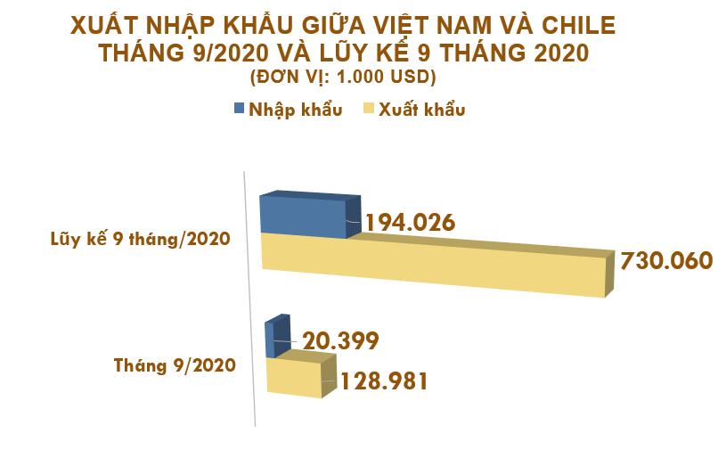 Xuất nhập khẩu Việt Nam và Chile tháng 9/2020: Xuất siêu gần 109 triệu USD - Ảnh 2.
