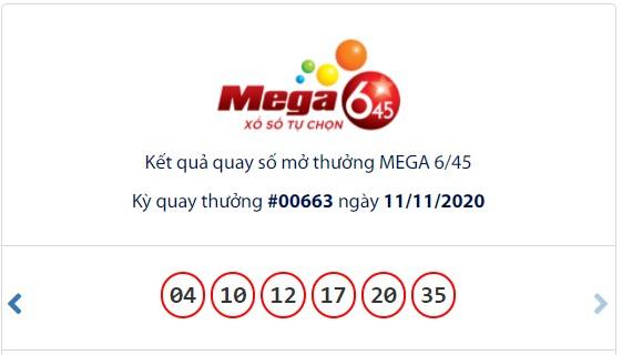 Kết quả Vietlott Mega 6/45 ngày 11/11: Jackpot 20,1 tỉ đồng vắng chủ  - Ảnh 1.
