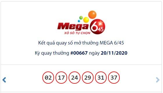 Kết quả Vietlott Mega 6/45 ngày 20/11: Jackpot gần 26,1 tỉ đồng tiếp tục vô chủ - Ảnh 1.