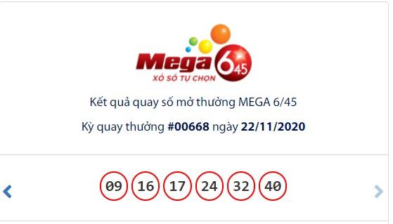 Kết quả Vietlott Mega 6/45 ngày 22/11: Jackpot tiếp tục vắng chủ ở mốc hơn 27,6 tỉ đồng - Ảnh 1.