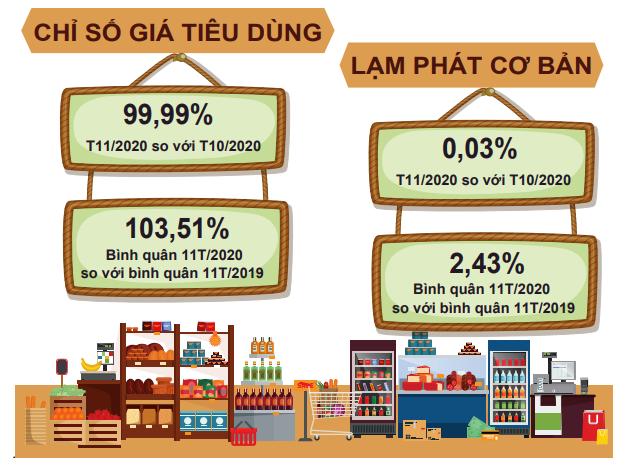 [Infographic] Bức tranh toàn cảnh nền kinh tế Việt Nam 11 tháng đầu năm 2020 - Ảnh 1.
