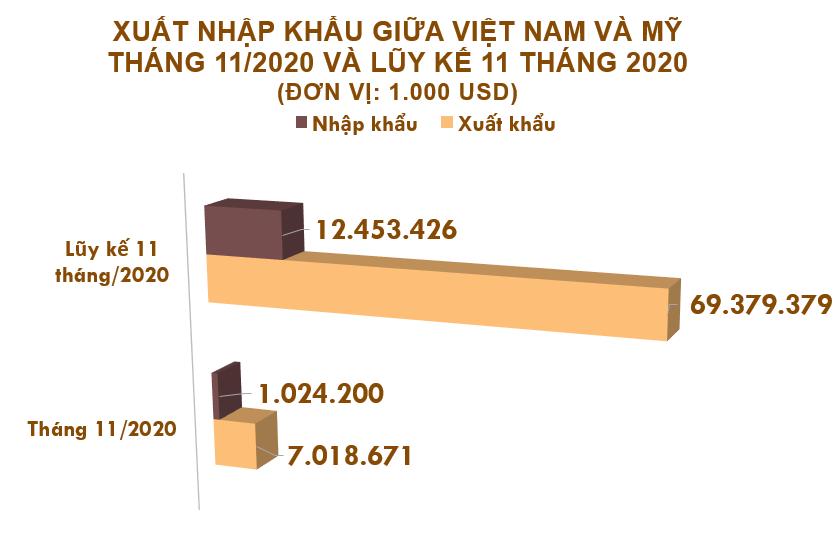 Xuất nhập khẩu Việt Nam và Mỹ tháng 11/2020: - Ảnh 1.