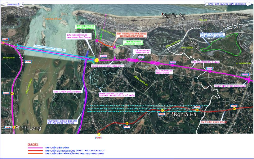 Quy hoạch điều chỉnh hướng tuyến Đường ven biển Dung Quất – Sa Huỳnh, đoạn qua khu vực Cầu Cửa Đại.