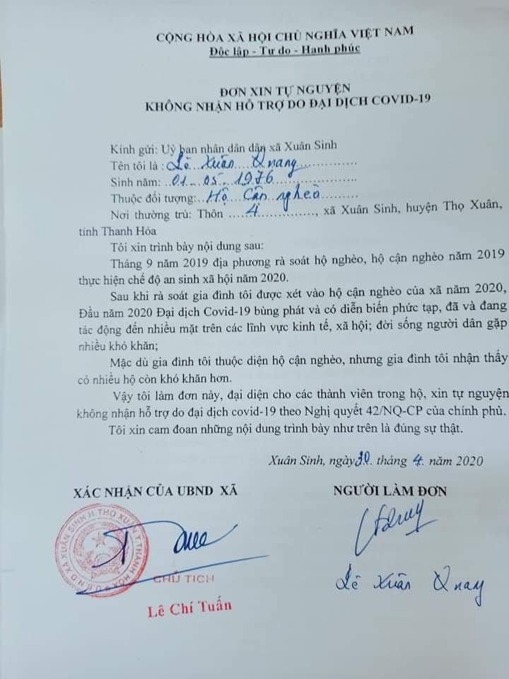 Người dân Thanh Hóa xin không nhận hơn 1,4 tỉ tiền hỗ trợ COVID-19 - Ảnh 1.