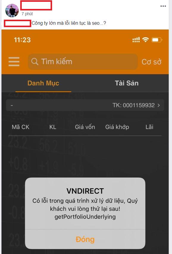 Mới bị HOSE ngắt kết nối, VNDirect tiếp tục lỗi hệ thống giao dịch - Ảnh 1.
