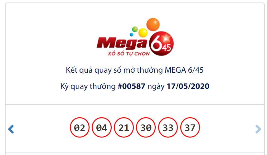 Kết quả Vietlott Mega 6/45 ngày 17/5: Jackpot trị giá hơn 30,6 tỉ đồng vẫn chưa có chủ - Ảnh 1.