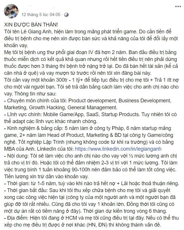Câu chuyện về nhà đồng sáng lập công ty game thuần Việt sẵn sàng 'bán thân' với mức lương 50% giá thị trường để lấy tiền điều trị cho mẹ - Ảnh 1.