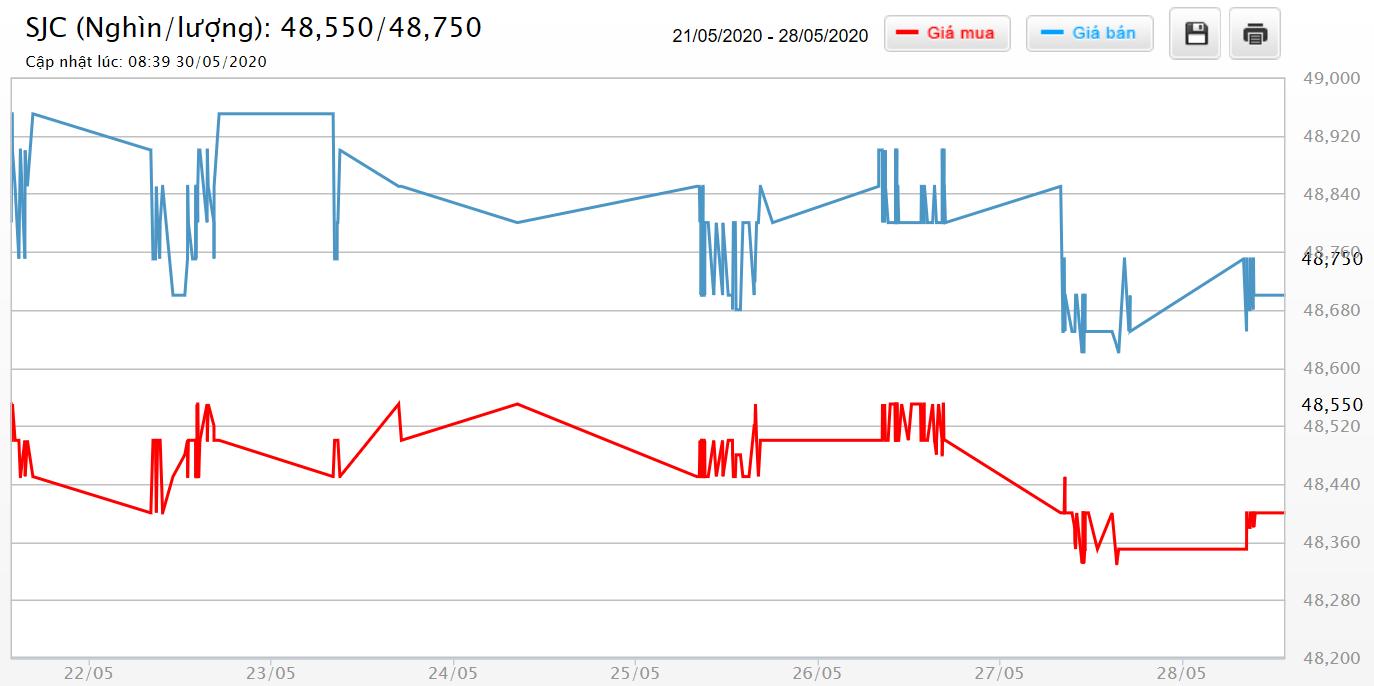Giá vàng hôm nay 31/5: SJC biến động liên tục nhưng vẫn giữ sát ngưỡng 49 triệu đồng/lượng - Ảnh 1.