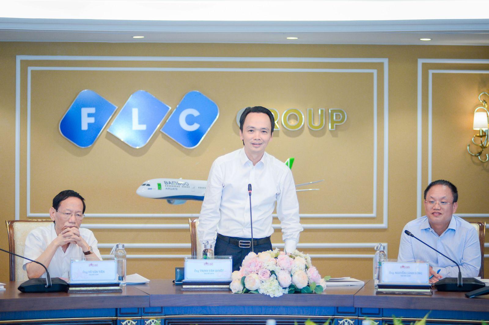 Chủ tịch Tập đoàn FLC Trịnh Văn Quyết phát biểu sáng 5/5. Ảnh: FLC.