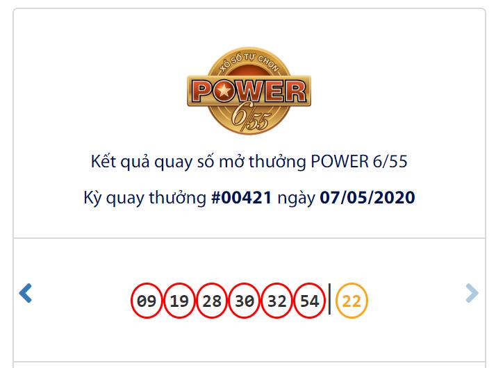 Kết quả Vietlott Power 6/55 ngày 7/5: Jackpot 2 tái khởi động đạt mốc hơn 3,5 tỉ đồng - Ảnh 1.