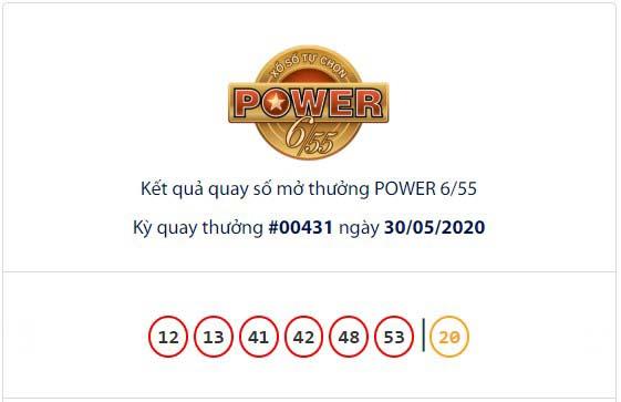 Kết quả xổ số Vietlott Power 6/55 ngày 30/5.