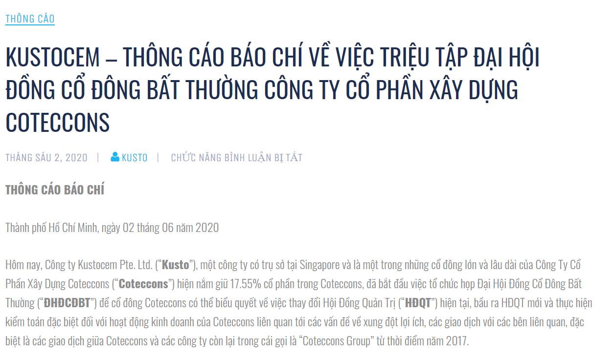 Nóng mâu thuẫn nội bộ tại Coteccons, Kusto yêu cầu ông Nguyễn Bá Dương và đồng sự từ chức ngay lập tức - Ảnh 1.
