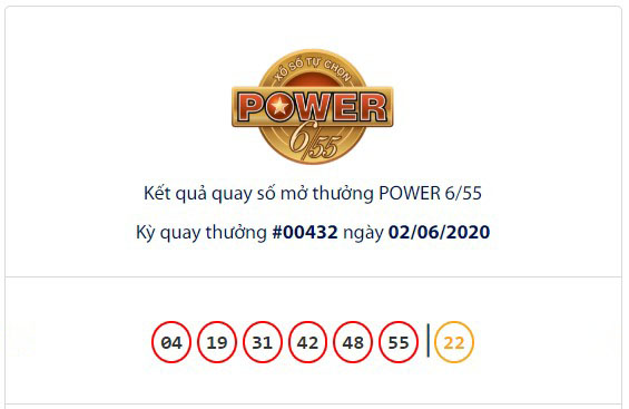 Kết quả Vietlott Power 6/55 ngày 2/6