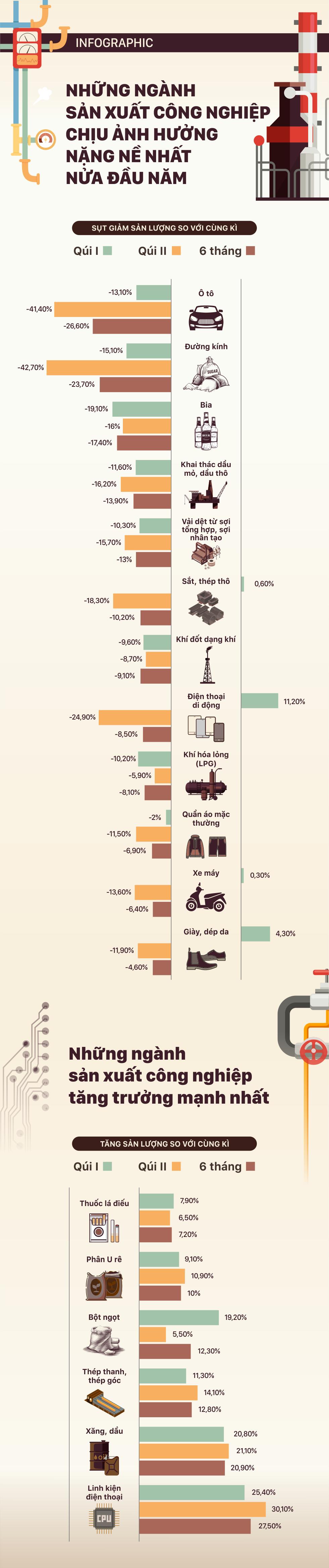 Những ngành sản xuất công nghiệp chịu tác động nặng nề nhất 6 tháng đầu năm - Ảnh 1.