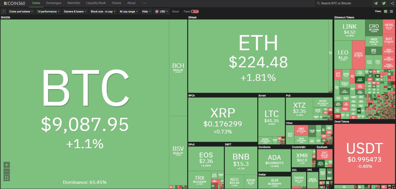 Toàn cảnh thị trường ngày 29/6 (nguồn: Coin360.com)