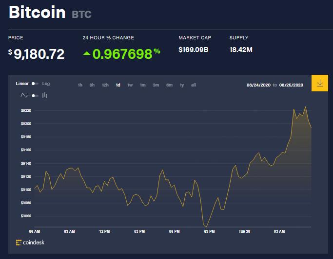 Chỉ số giá bitcoin hôm nay 30/6 (nguồn: CoinDesk)