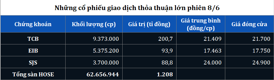Giao dịch thỏa thuận lớn TCB, EIB, SJS phiên 8/6 - Ảnh 1.