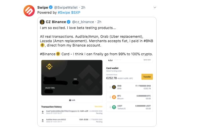 Swipe trích dẫn bài viết của CEO Binance Changpeng Zhao (nguồn: CoinTelegraph)