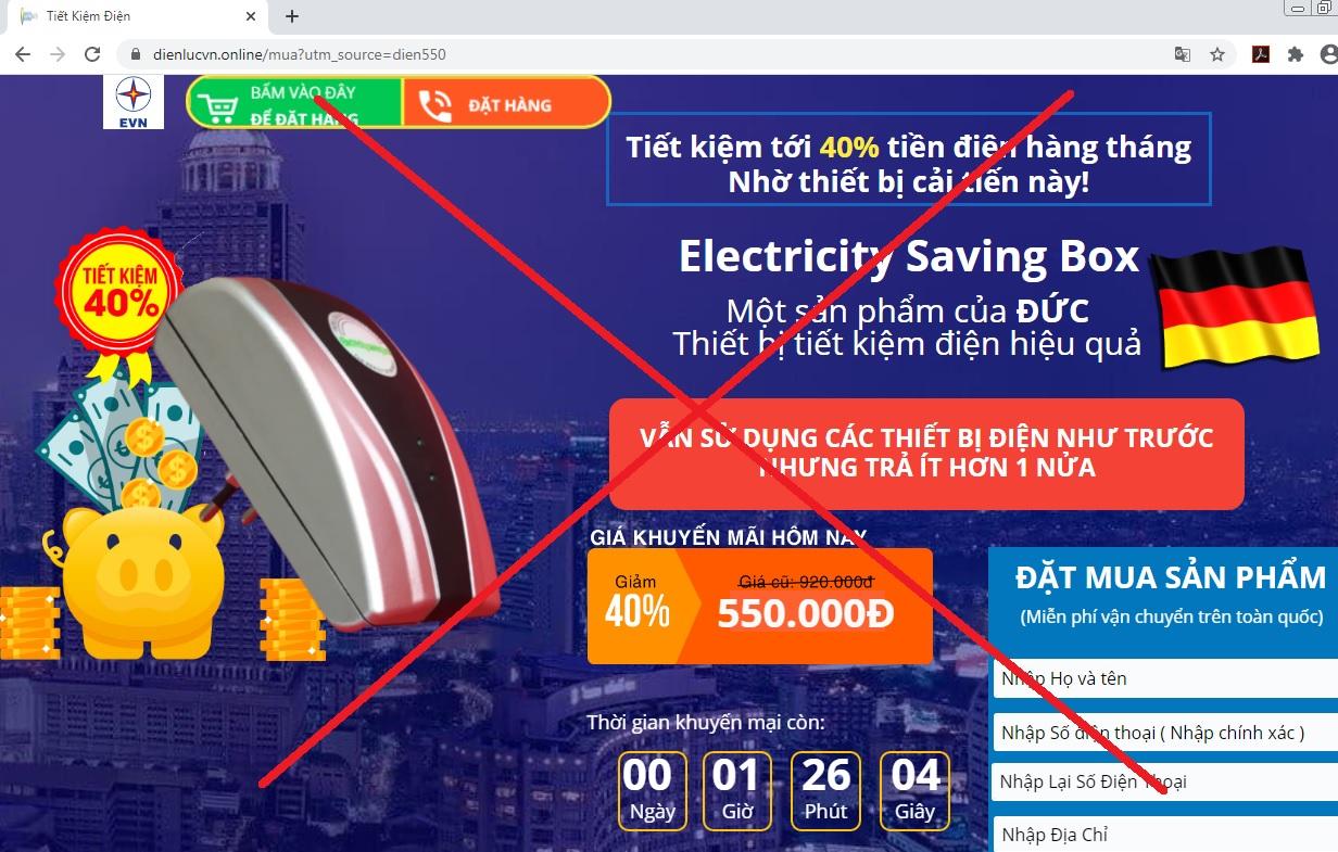 Xuất hiện các thông tin quảng cáo giả mạo thương hiệu EVN để bán hàng - Ảnh 2.
