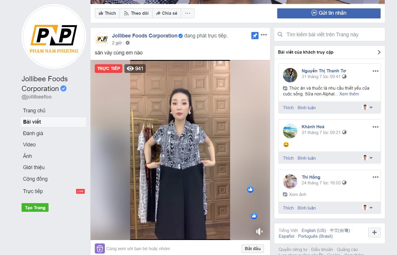 Chuỗi Jollibee Foods bị hack fanpage chính thức, livestream bán hàng online - Ảnh 1.