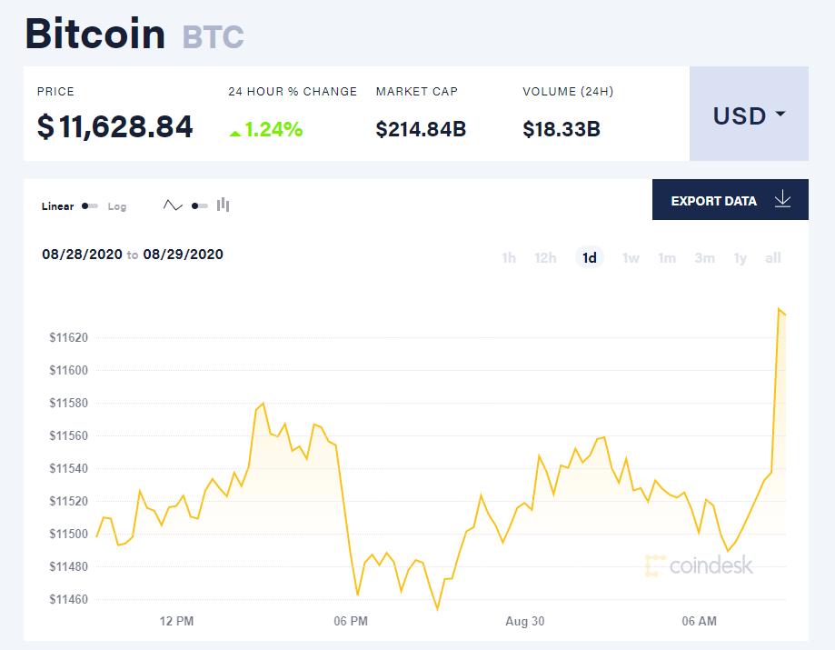 Chỉ số giá bitcoin hôm nay 30/8 (nguồn: CoinDesk)