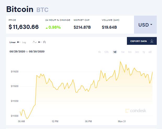 Chỉ số giá bitcoin hôm nay 31/8 (nguồn: CoinDesk)