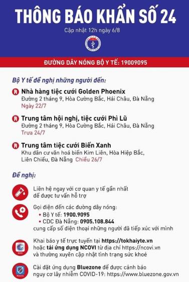 [Khẩn] Bộ Y tế tiếp tục thông báo tìm người liên quan đến nhiều nhà hàng tiệc cưới ở Đà Nẵng - Ảnh 1.