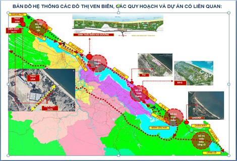 Bản đồ hệ thống các đô thị ven biển, các qui hoạch và dự án có liên quan. (Ảnh: Cổng TTĐT Thừa Thiên - Huế).