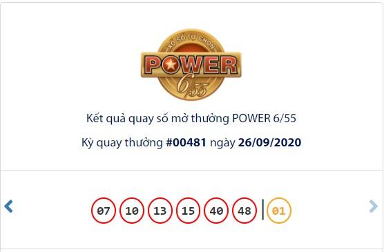 Kết quả Vietlott Power 6/55 ngày 26/9: Chủ nhân may mắn trúng giải Jackpot 2 giá trị hơn 58,1 tỉ đồng - Ảnh 1.