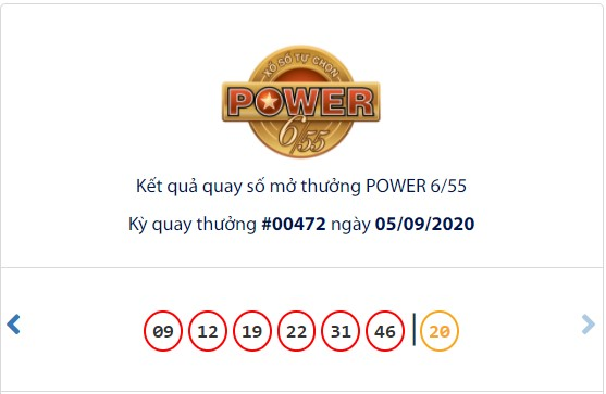 Kết quả Vietlott Power 6/55 ngày 5/9: Đạt hơn 42 tỉ đồng, jackpot 1 tiếp tục hụt chủ - Ảnh 1.