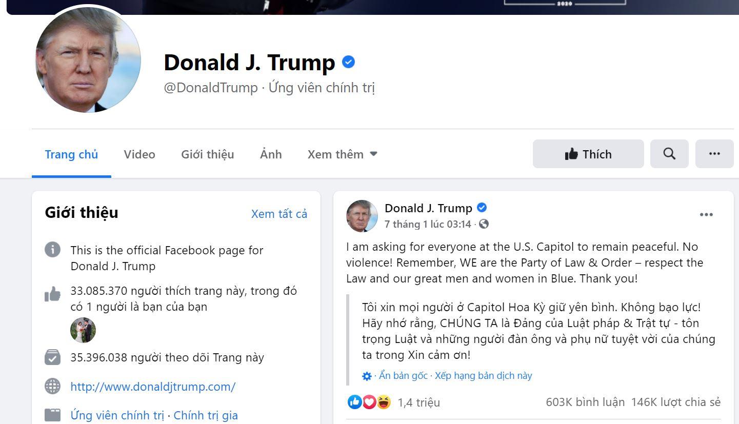 Facebook mở lại tài khoản của ông Trump nhưng không công nhận là tổng thống - Ảnh 1.