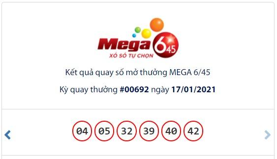 Kết quả Vietlott Mega 6/45 ngày 17/1: Jackpot gần  tỉ đồng tiếp tục vô chủ - Ảnh 1.
