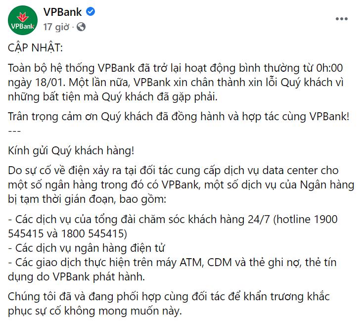 VP Bank, TP Bank hoạt động bình thường sau sự cố mất điện của đối tác - Ảnh 1.