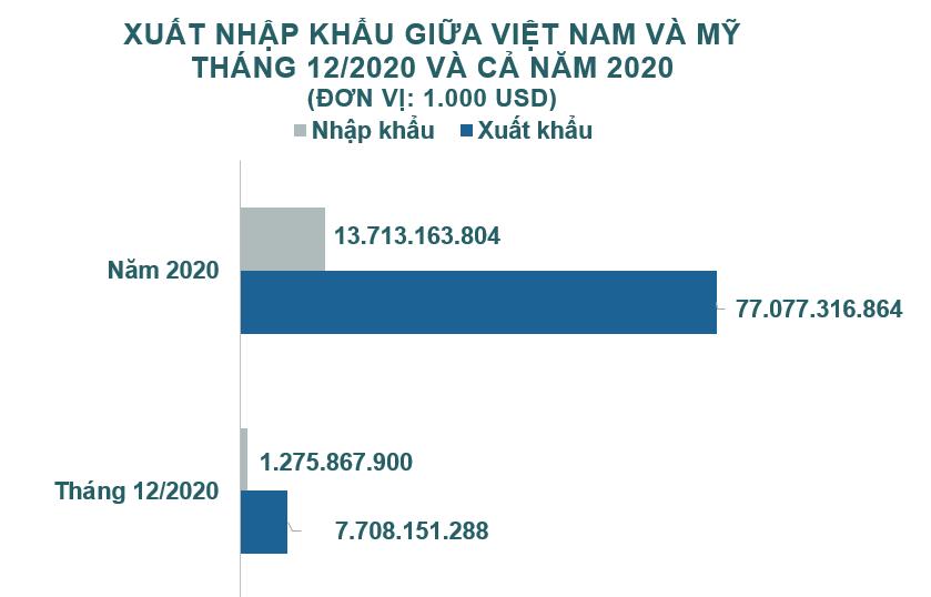 Xuất nhập khẩu Việt Nam và Mỹ tháng 12/2020: Xuất siêu sang Mỹ hơn 6,4 tỷ USD - Ảnh 1.