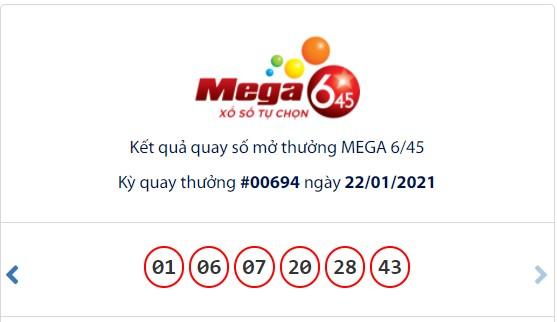 Kết quả Vietlott Mega 6/45 ngày 22/1: Jackpot hơn 16,4 tỉ đồng vắng chủ nhân - Ảnh 1.
