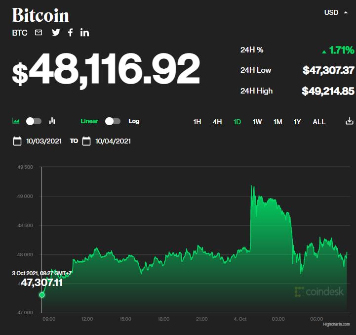 Chỉ số giá bitcoin hôm nay 4/10/2021. (Nguồn: CoinDesk).