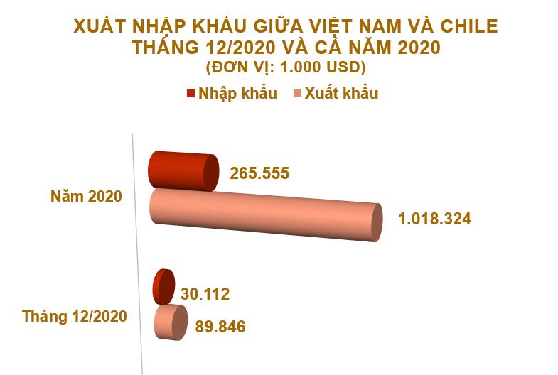 Xuất nhập khẩu Việt Nam và Chile tháng 12/2020: Cả năm xuất siêu gần 753 triệu USD - Ảnh 2.
