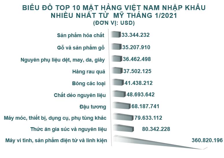 Xuất nhập khẩu Việt Nam và Mỹ tháng 1/2021: Kim ngạch thặng dư 7,1 tỷ USD - Ảnh 5.