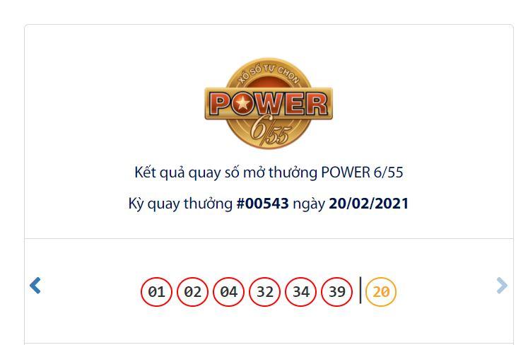 Kết quả Vietlott Power 6/55 ngày 20/2: Giải độc đắc hơn 70 tỷ đồng vắng chủ - Ảnh 1.