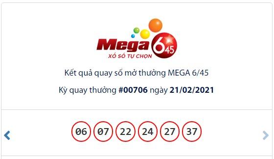 Kết quả Vietlott Mega 6/45 ngày 21/2: Jackpot gần 23,8 tỷ đồng hụt chủ ngày cuối tuần - Ảnh 1.