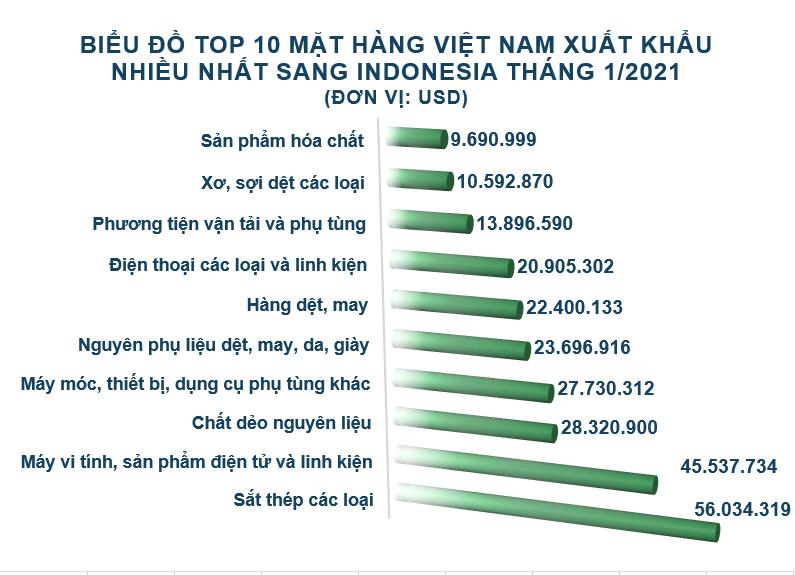 Xuất nhập khẩu Việt Nam và Indonesia tháng 1/2021: Duy trì nhập siêu - Ảnh 3.