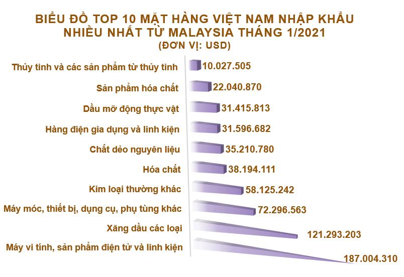 Xuất nhập khẩu Việt Nam và Malaysia tháng 1/2021: Nhập khẩu tăng 66% - Ảnh 5.