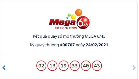 Kết quả Vietlott Mega 6/45 ngày 24/2: Jackpot hơn 25,8 tỷ đồng tiếp tục hụt chủ - Ảnh 1.