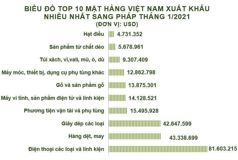 Xuất nhập khẩu Việt Nam và Pháp tháng 1/2021: Nhập khẩu hàng hóa tăng 92% - Ảnh 2.