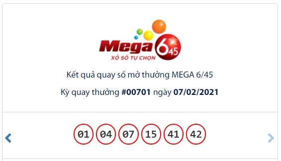 Kết quả Vietlott Mega 6/45 ngày 7/2: Jackpot gần 15 tỷ đồng hụt chủ ngày cuối tuần - Ảnh 1.