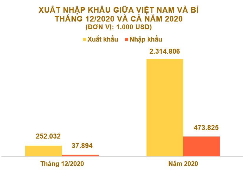 Xuất nhập khẩu Việt Nam và Bỉ tháng 12/2020: Duy trì xuất siêu - Ảnh 2.