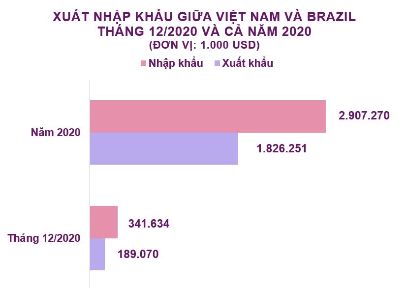 Xuất nhập khẩu Việt Nam và Brazil tháng 12/2020: Nhập khẩu thức ăn gia súc tăng 1181% - Ảnh 2.