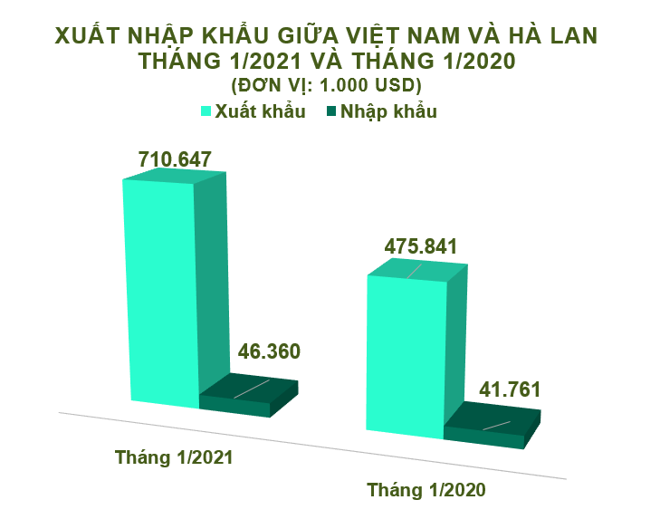 Xuất nhập khẩu Việt Nam và Hà Lan tháng 1/2021: Nhập khẩu cao su tăng 648% - Ảnh 1.